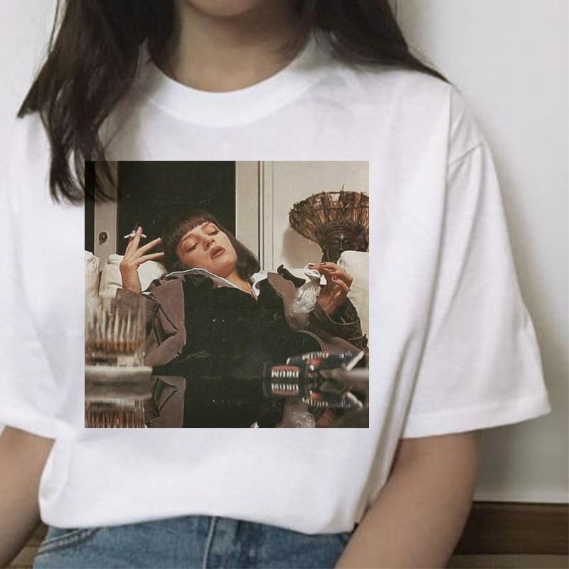 Pulp fiction t shirt roupas femininas harajuku feminino topo camisetas ulzzang gráfico femme coreano verão 90s mia casual kawaii