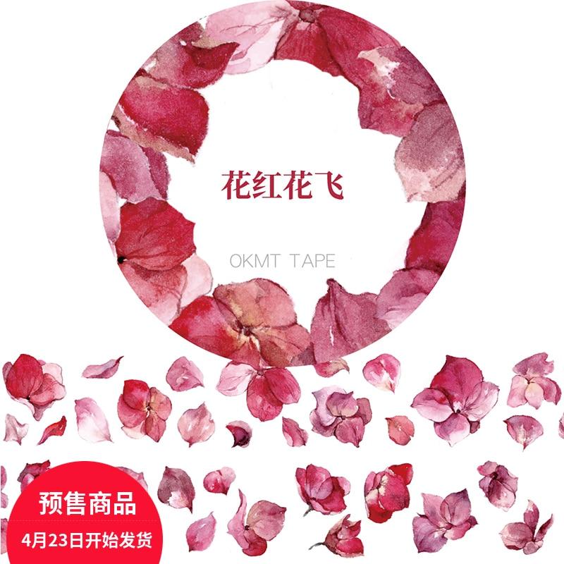 Falling Red Flowers Masking Tape Japanese Washi Tape Scrapbooking Washi-tape Papeleria School Tools Decorative Stationery black washi tape scrapbooking tools adhesive tape decorative tape school