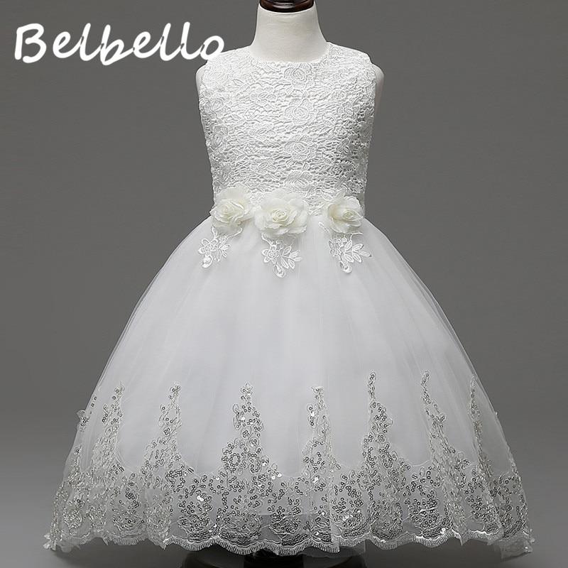 Belbello Girls Flower Dress Summer Kid Children Princess Dress Mesh Floral Sequins Dress Sweet Casual Fashion Children Clothing