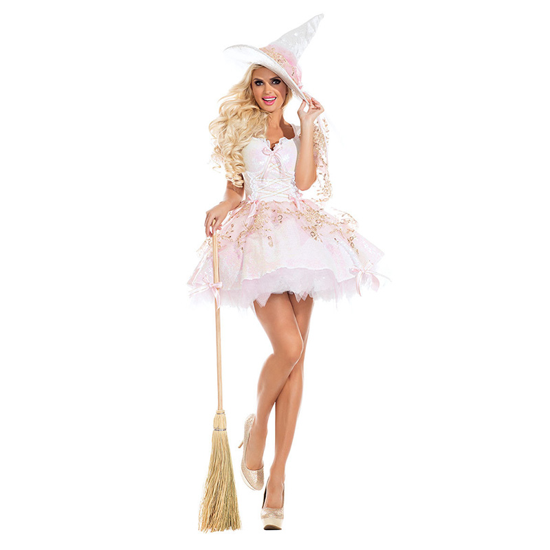 BLACK AND PINK ADULT WOMENS WITCH FANCY DRESS HALLOWEEN COSTUME