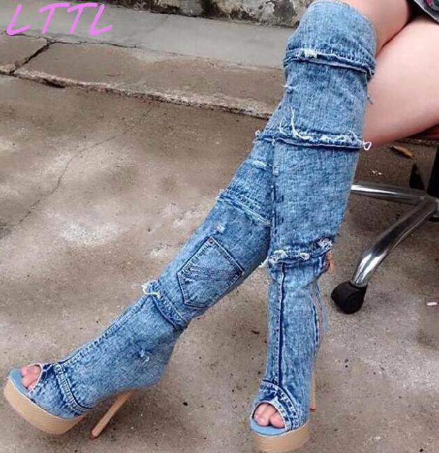 2017 Spring Fashion Blue Denim Women Peep Toe Boots High Platform Pocket Decorate Ladies High Heel Boots Over The Knee dark blue belted peep toe fashion booties