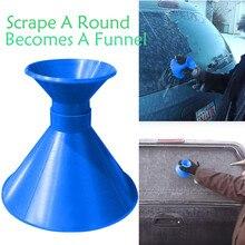 Царапать круглый магический конусообразный лобовое стекло синий скребок для льда снег становится воронкой Зимний уход за автомобилем#30