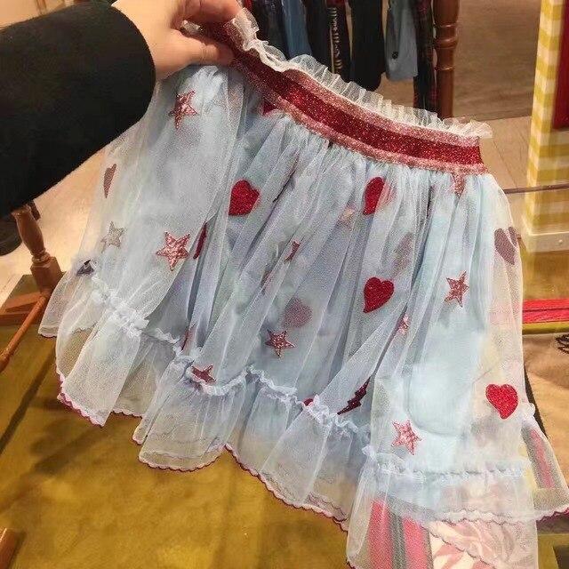 Новые детская Девушки звезды любят вышивка синяя юбка princess tutu марли юбки Оптом 2017