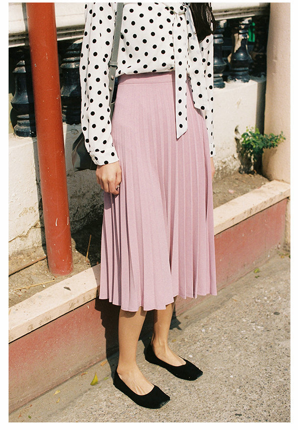 A-Line Pink Gray Black Pleated Skirt 5