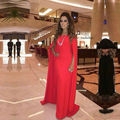 Red Celebrity Dresses 2016 Off Shoulder Chiffon Middle East Women Wedding Party Dress Long Sleeve Prom Gown Abendkleider