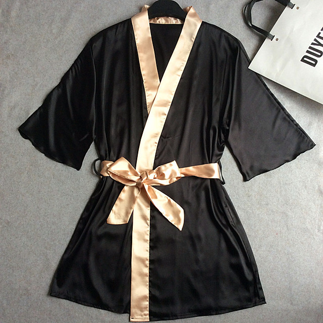 New Fashion Black Gold Womens Silk Sleep & Lounge TRobe Gown Lingerie Classic Nightgown Kimono Sleepwear With Belt One Size 0010
