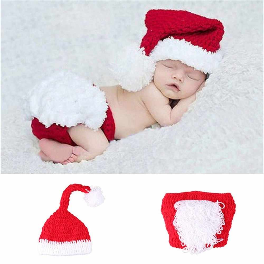 07502643e36f7 ... Crochet Baby Newborn Photography Props Santa Clause Costume for Newborn  Photo Shoot Knitted Infant Christmas Hat ...