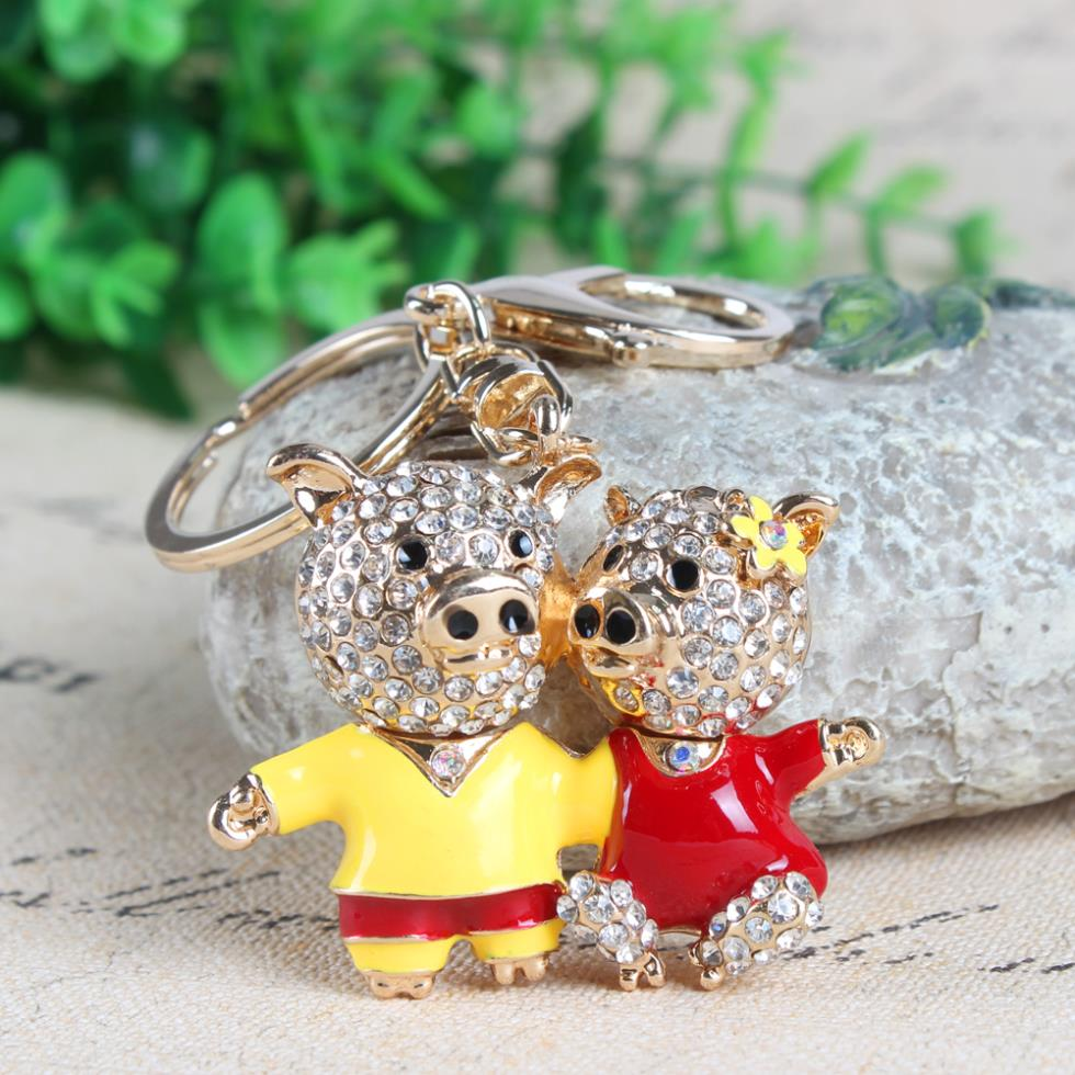 Lovely Double Lover Pig Flower Crystal Rhinestone Charm Pendant Purse Bag Car Key Ring Chain Creative Wedding Valentine's Gift