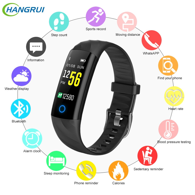 Hangrui S5 Smart Bande de Fréquence Cardiaque Tracker Bracelet Couleur LCD Écran Tactile Montre Smart Watch Bande IP68 Étanche Bracelet PK Miband 3