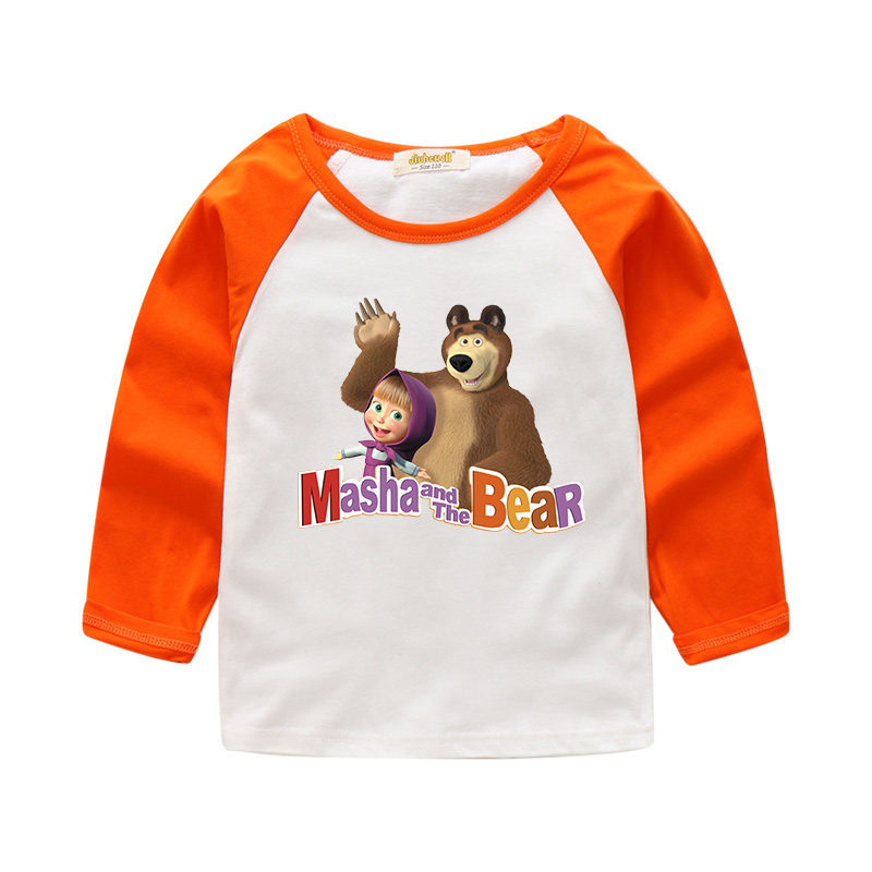 2018 Boy Girl Cartoon Masha And Bear Design 100%Cotton Long Sleeves T-shirt Children Tee Tops Clothes For Kids T Shirt CTX026 purple lace up cold shoulder long sleeves t shirt
