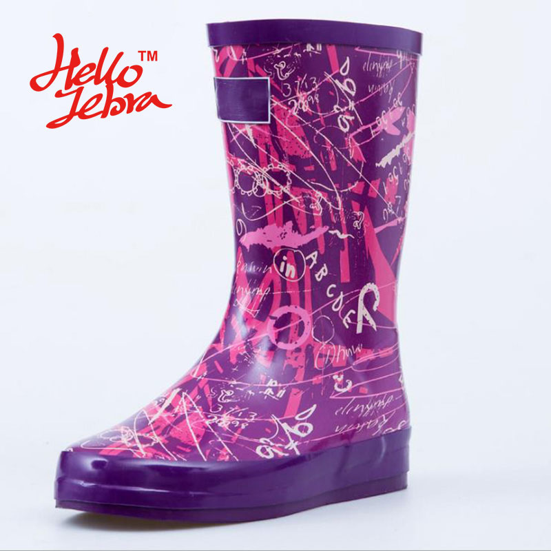 Women Black Rain Boots with Number Letter Lady Low Hoof Heels Mid Calf Waterproof Round Toe Rainboots 2016 New Fashion Design