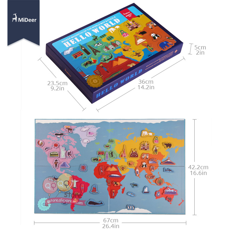 Mideer hello world map magnetic sticker kit refrigerator paste mideer hello world map magnetic sticker kit refrigerator paste children early learning puzzle kid educational toy christmas gift in puzzles from toys gumiabroncs Images