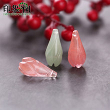 1pc 10*21mm Natural Gem Jad e Flower Olay Bud Pendant Green Pink 3D Carven Charms Necklace DIY Jewelry Making 18093