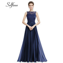 Lace Dress Women 2018 Sexy Navy Blue A-line Sleeveless Round Neck Prom Long Elegant Plus Size Dress For Party Vestidos De Fiesta