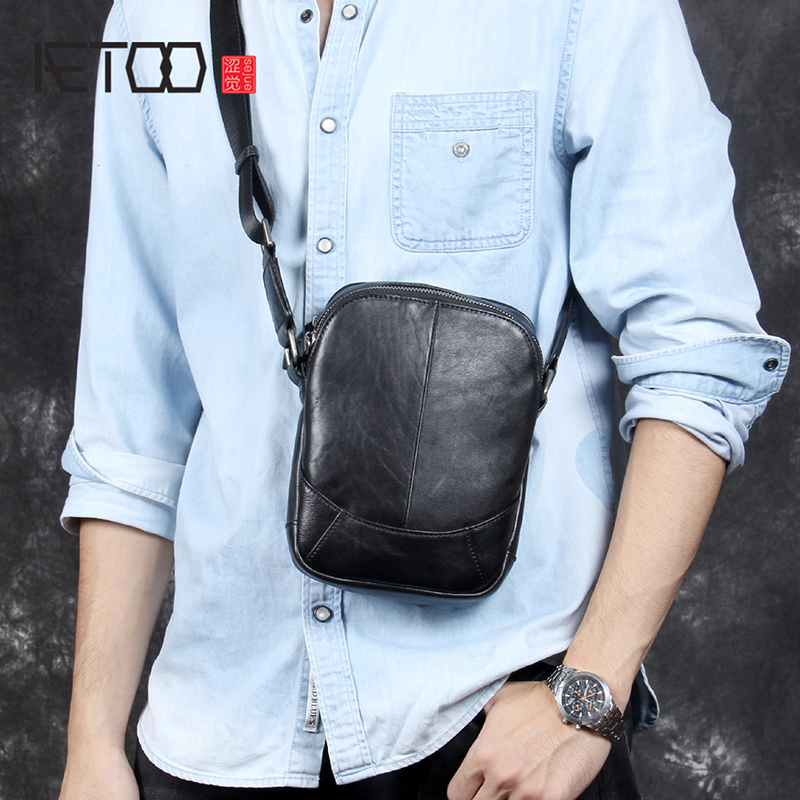 AETOO Casual fashion head cowhide single shoulder crossbody bag male leather simple small bagAETOO Casual fashion head cowhide single shoulder crossbody bag male leather simple small bag