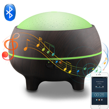 Bluetooth Music Play Aroma Diffuser 300ML Aromatherapy Ultrasonic Essential Oil Humidifier Wood Grain LED Light Humidifier 300ml colorful led timing ultrasonic wood grain base aromatherapy machine air humidifier aerosol dispenser diffuser 2 colors