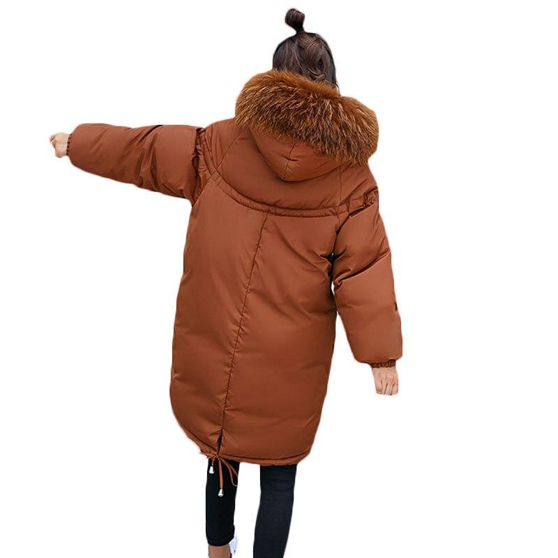 Winter Jacket Women 2018 New Army Green Loose   Parka   Women Down Cotton Coat Fashion Big Fur Collar Hooded Warm Overcoat LQ286