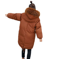 Winter Jacket Women 2018 New Army Green Loose Parka Women Down Cotton Coat Fashion Big Fur Collar Hooded Warm Overcoat LQ286