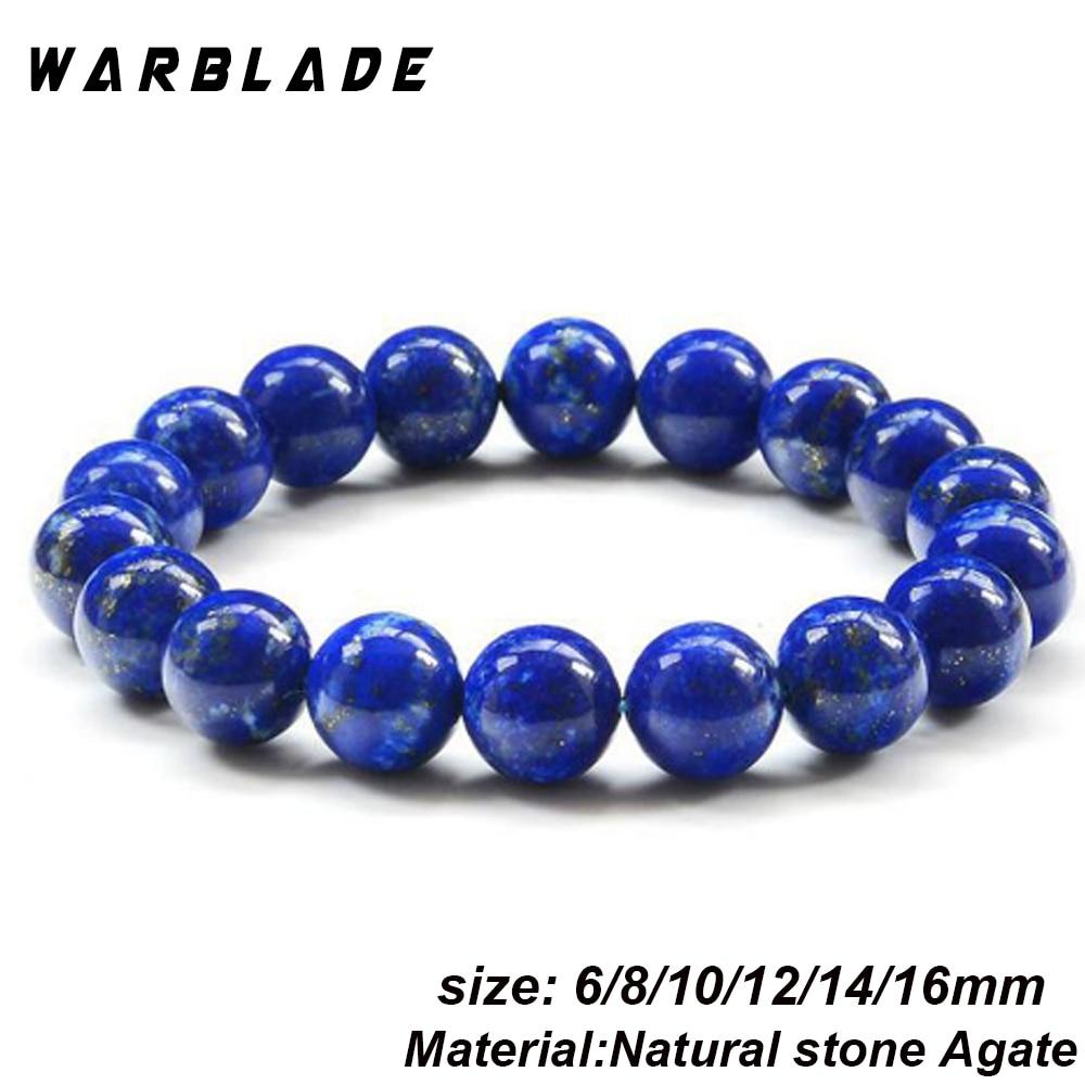 WarBLade AAA Natural Stone 3A Lapis Lazuli Bracelets Gems Stones Lapis Lazuli Beads Beaded Bracelets Bangles For Women Men