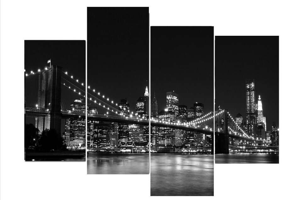 4 Piece Modern Home Decorative wall Painting New York Brooklyn bridge Art Picture Print on Canvas Wall Pictures For Living