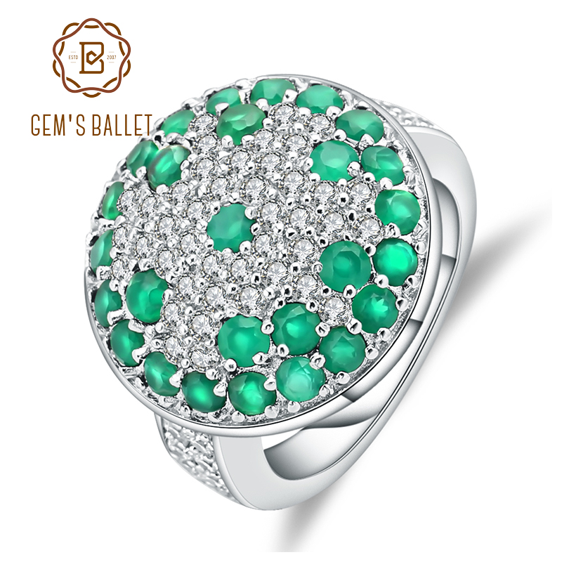 GEM'S BALLET Natural Green Agate Gemstone Rings Solid 925 Sterling Silver Cocktail Ring For Women Wedding Fine Jewelry