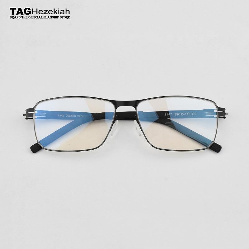 TAG Brand Germany Stainless Steel Metal Frame Glasses Men Square Myopia Prescription Eyewear Optical Eyeglasses Frame Spectacle
