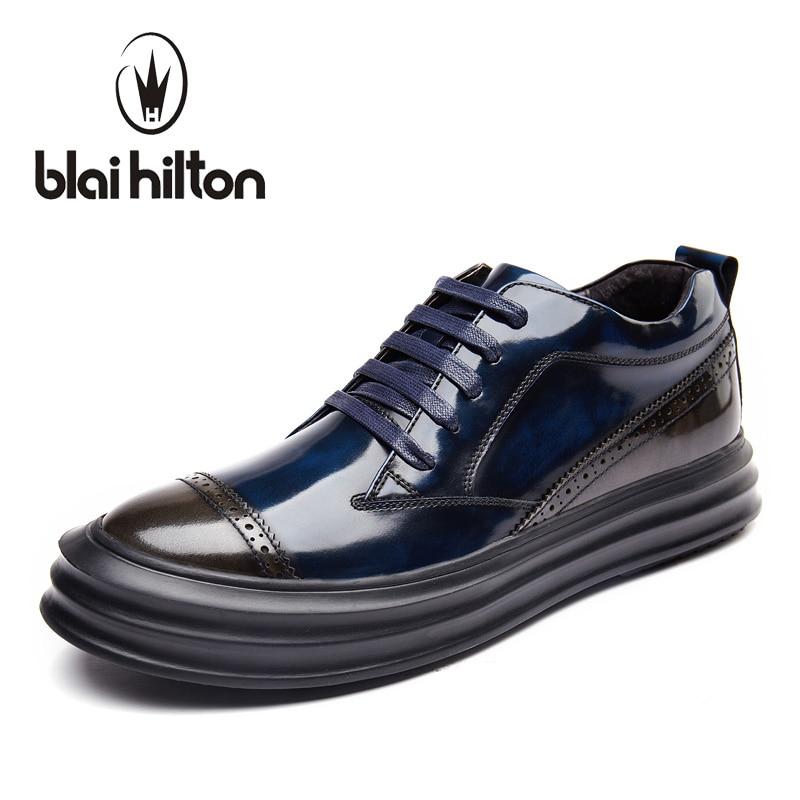 Blaibilton New Glossy 100% Luxury Genuine Leather Men Shoes Brogue Classic Vintage Designer Patchwork Platform Mens Shoes Casual швейные машины comfort швейная машина comfort comfort200a
