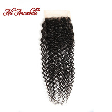 ALI ANNABELLE HAIR Brazilian Kinky Curly Hair Lace Closure 4*4 Brazilian Hair 100% Remy Human Curly Hair Closure Free Part