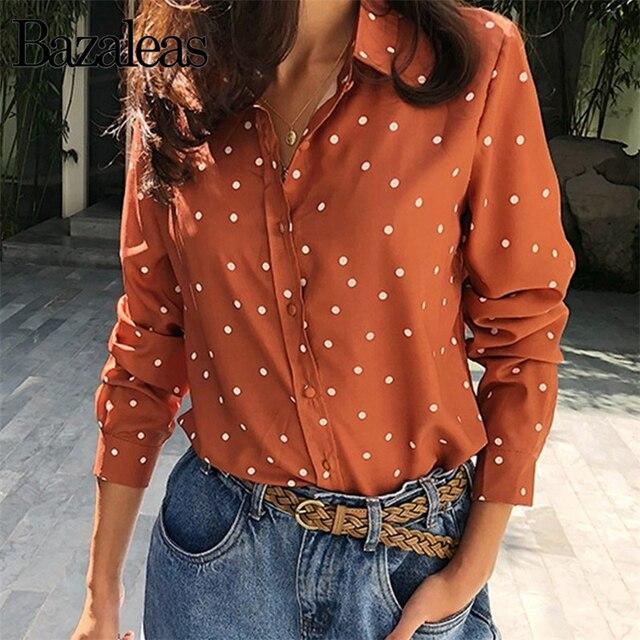 72755860a09958 Bazaleas Dot Print Orange blusas Fashion French Women blouse Casual Button  blusa feminina Chic womens tops and blouse
