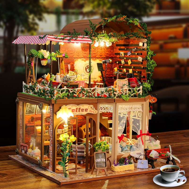 creative gift  DIY Assembled model building toys fairy tale House Dolls Pretend Play Furniture Mini Toy Household romantic gifts children best gift fashion sex red color diy metal supper car assembled model toys