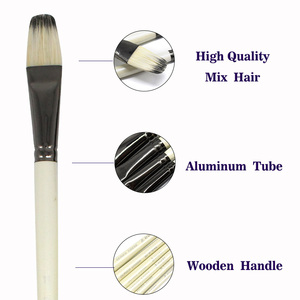 Image 3 - Eval Professional 6Pcs White Painting Brushes Set Mix Bristle Hair Watercolor Oil Acrylic Artistic Paint Brush For Art Supplies