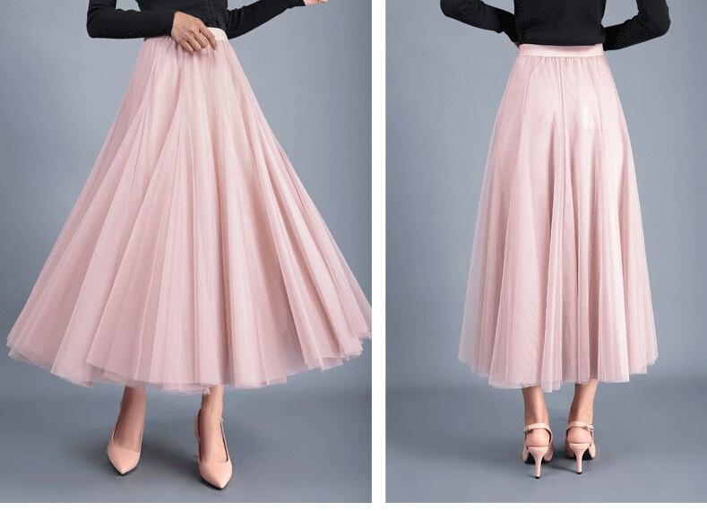 Jielur Skirts Womens Autumn 3 Layers Princess Tulle Mesh Pleated Skirt Saia Female Jupe Summer Tutu Skirts Faldas Mujer Moda