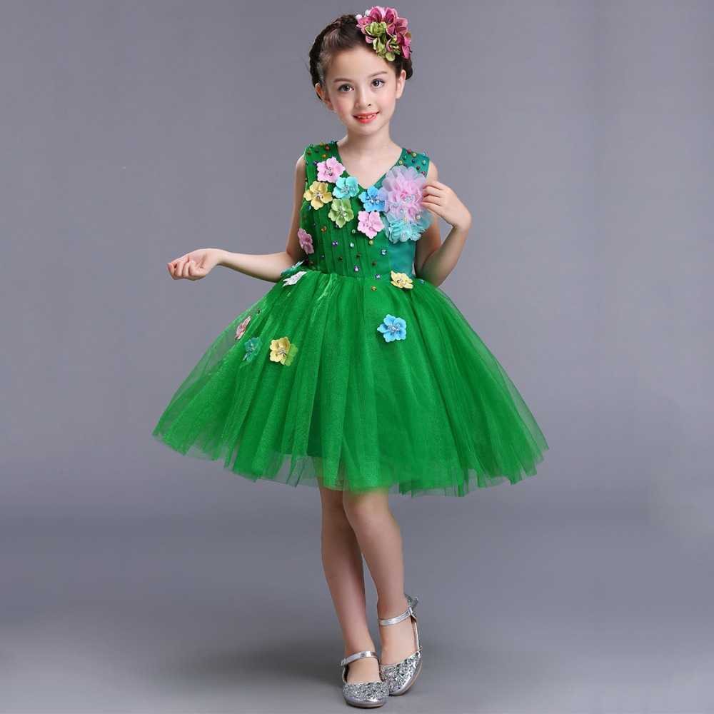 105e8f20aa Red Pink White Princess Party Wear Lovely Gift Children Girls Wedding  Pageant Formal Gown Beautiful Green Dress for Girls 2-13Y