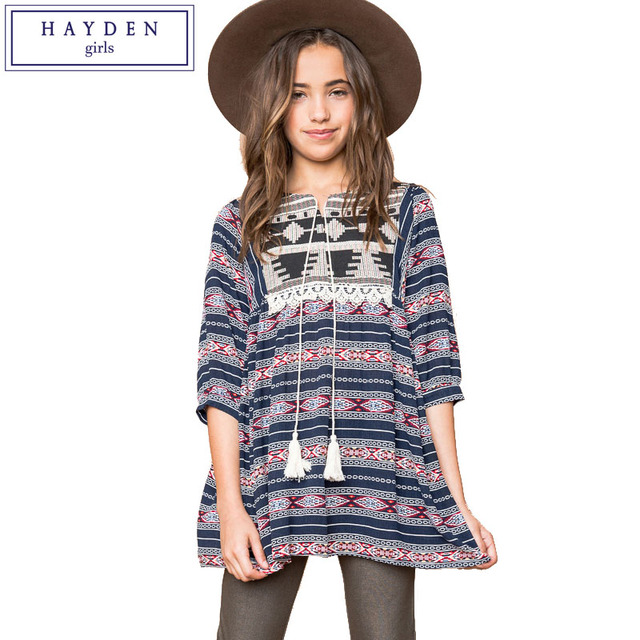 HAYDEN Girls Boho Dress Ethnic Kids Bohemian Chic Clothing 2017 Summer Casual Teenager Clothes Size 7