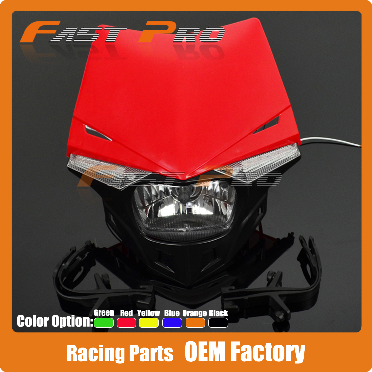 Motorcycle Dirt Bike Supermoto Universal Headlights Headlamp StreetFighter For KTM CR125 150 CR250 CRF250 CRF450 CR500 XR250 RED крыло crf250 crf450