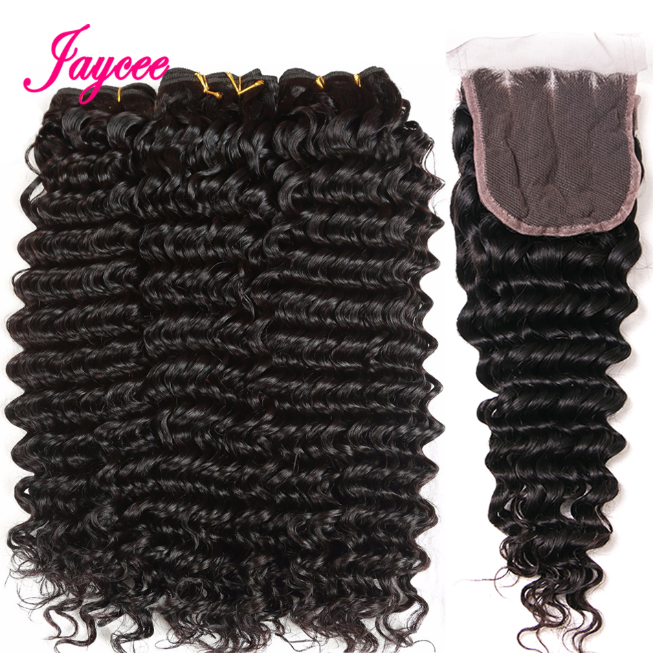 Jaycee Brazilian Deep Wave Bundles With Closure 3 Bundle Human Hair Weave With Lace Closure Remy Deep Wave Bundles With Closure