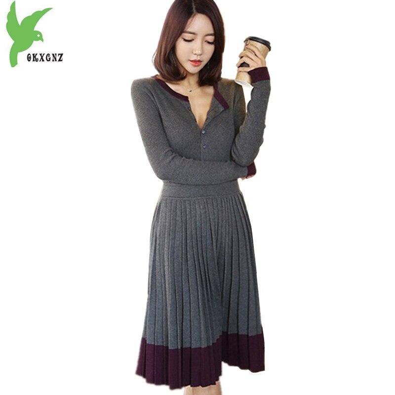 2018 Spring and Autumn Women Knit Dress Fashion Long sleeve Pleated Dress Slim Female Bottom Sweater Pullover Dress OKXGNZ A1581