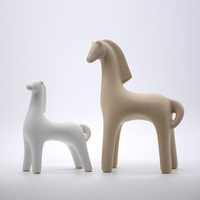 Ceramics Horse Ornament Home Decoration White Grey