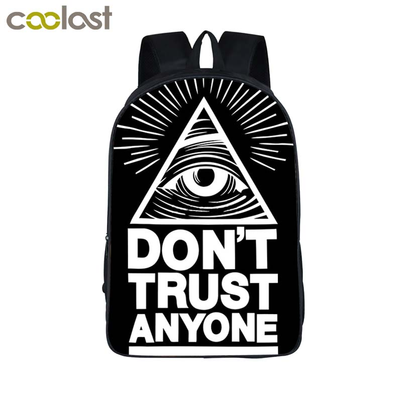 men women ALL SEEING EYE backpack ILLUMINATI CULT Backpack for Boys and Girls Kids don't trust anyone Bag children school bags illuminati подвесная люстра illuminati md112801 10a