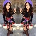 Детская одежда комплект девочек платье Новый стиль дети красивые без бретелек рубашка фрок цветочный юбка костюм детей печатных платье L01C19