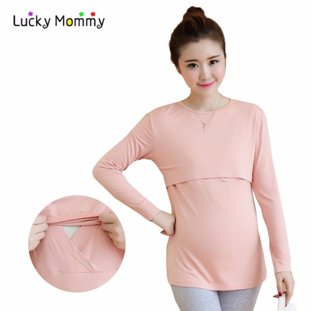 New Spring Breastfeeding Clothes Nursing Top T shirts Long-sleeved Solid Color T-shirts for Pregnant Women Maternity Clothing