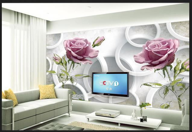 High Quality 3D Hand Painted Roses Circle Wallpaper 3D Wall Mural Papel De  Parede Photo 3d HD Wedding Decoration Wall , Floral In Wallpapers From Home  ... Part 97