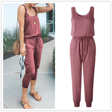 Sexy Off Shoulder Sleeveless Lace Up Belts Jumpsuits