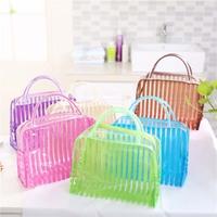 Transparent PVC Zipper Cosmetic Makeup Organizer Bag Stripe Portable Waterproof Makeup   Tool     Storage   Ladies Bag