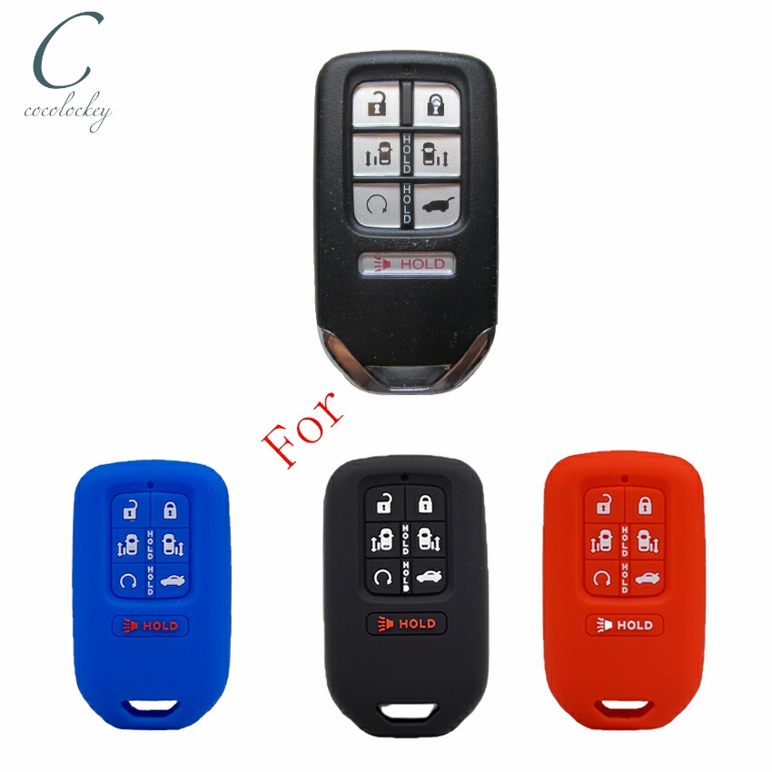 Cocolockey Rubber Car Key Cover Case for <font><b>honda</b></font> odyssey 2017 2018 Silicone Smart <font><b>Remote</b></font> <font><b>Keyless</b></font> Shell 7 Button No Logo image