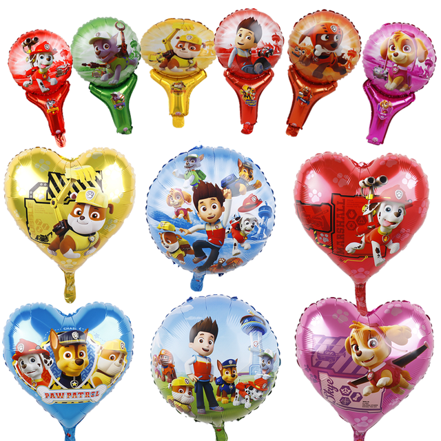 Paw Patrol Foil Balloons 1pc 18inch Hot Cartoon Dog Handheld Globos Birthday Party Decorations Kids Toys Chase Marshall Ballon