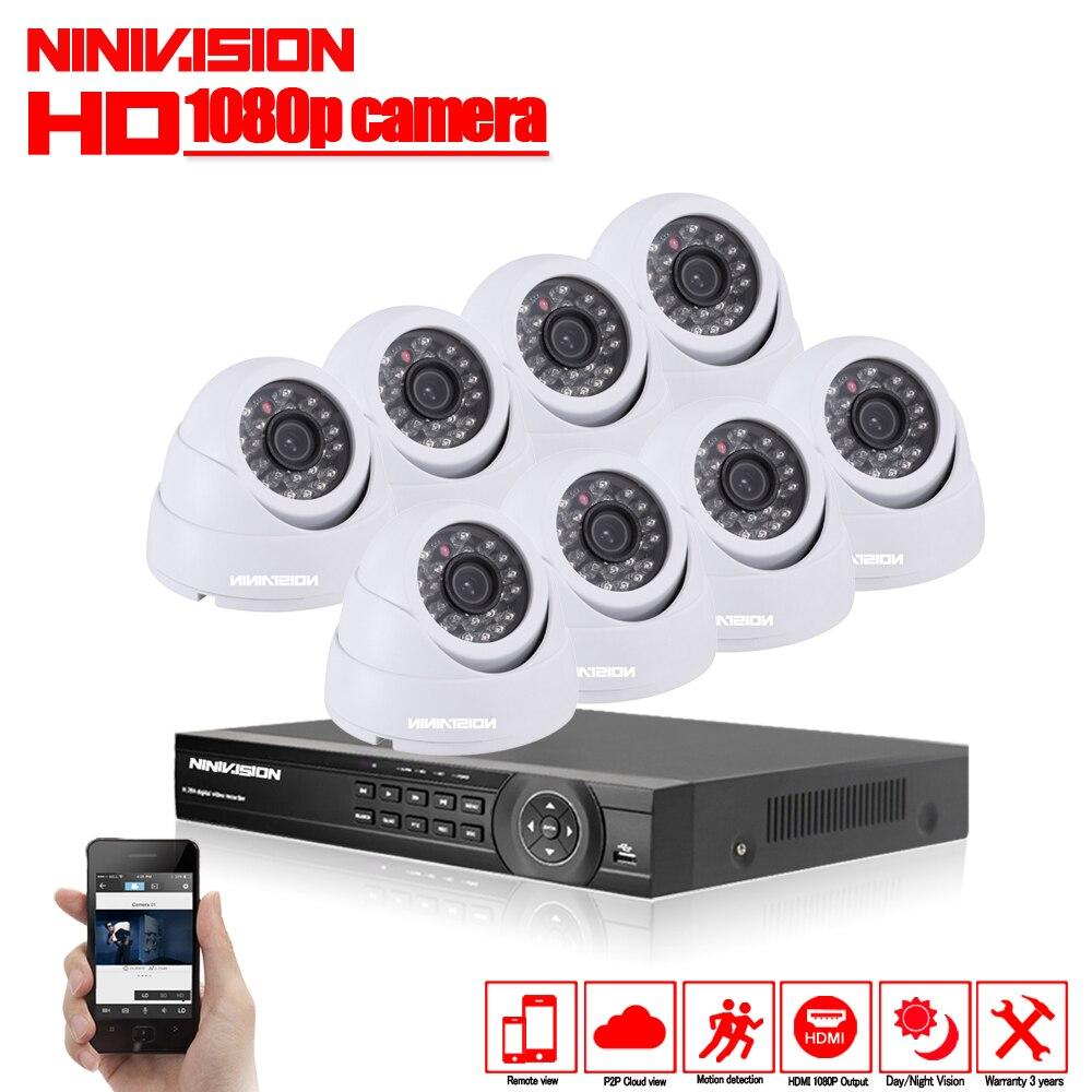 Système de caméra de vidéosurveillance 8CH AHD CCTV DVR 8 pièces 2MP IR caméra de sécurité intérieure 1080 P 3000TVL caméra dôme Kits de Surveillance