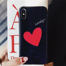 Cyato Cute Love Heart Tempered Glass Case For iPhone X 10 Full Clear Cover 6 6s 7 8 PLUS capa Fundas