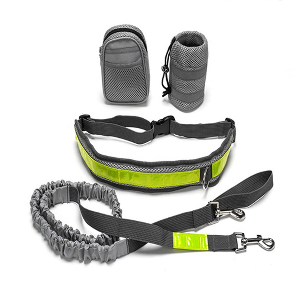 Multifunction Elastic Nylon Belt Running Dog Leash Padded Waist With Reflective Strip + Zipper Bag + Bottle Holder for Dog Cat