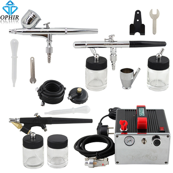 OPHIR 0.3mm 0.35mm 0.8mm Airbrush Kit with Air Compressor for Hobby Cake Decorating Airbrush Gun for Nail Art_AC091+004A+071+072